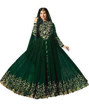 Designer Faux Georgette Green Heavy Embroidred And Hand Work Anarkali Suit