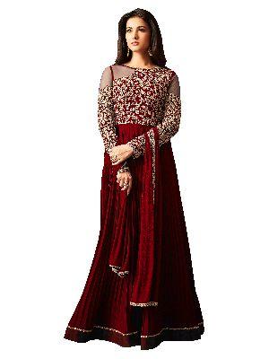 Designer Faux Georgette Maroon Festive Wear Anarkali Salwar Kameez