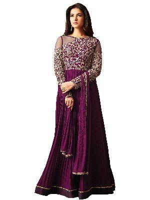 Designer Faux Georgette Purple Festive Wear Anarkali Salwar Kameez