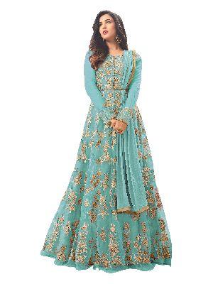 Designer Heavy Embroidered Net Sky Blue Anarkali Salwar Suit