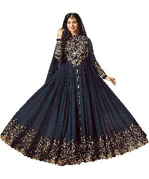Designer Navy Blue Faux Georgette Heavy Embroidred And Hand Work Anarkali Suit