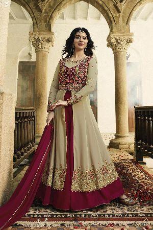 Latest Fancy Party Wear Beige Faux Georgette Embroidered Anarkali Salwar Suit