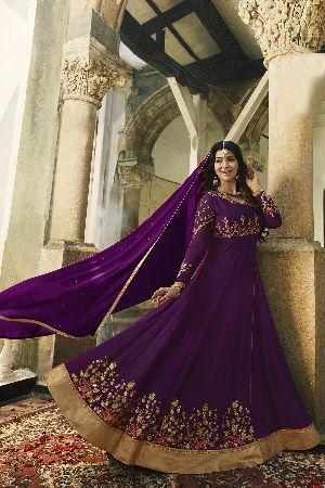 Latest Fancy Party Wear Purple Faux Georgette Embroidered Anarkali Salwar Suit