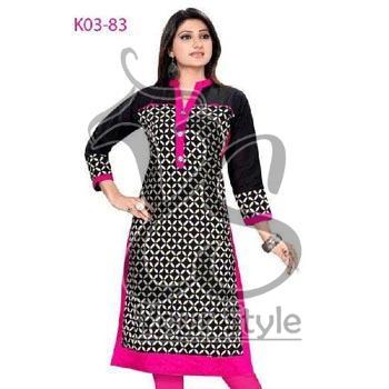 Women's Pink Stitched Cotton A Line Kurti
