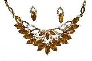 Gold Plated Amber Crystal Necklace