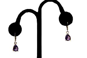 Sterling Silver Tear Shaped Amethyst Colored Earring Set