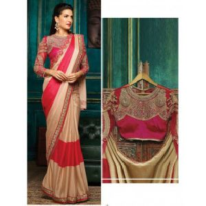 Womens Designer Beige Silk Saree