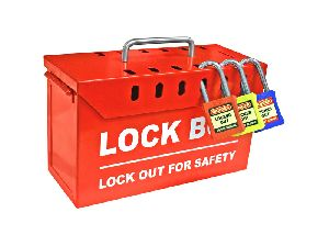 Red Powder Coated Steel Lock Box