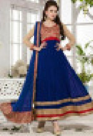 Blue Mps3007 Vp Georgette New Designer Semi Stiched Salwar Kameez-