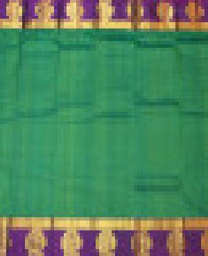 Pure Kanjivaram Plain With Peacock Desinger Gold Border Silk Saree-green-ssv8609502-vt-soft Silk