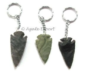 Agate Arrowheads Keyrings