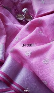 Handloom Pure Linen Hand Embroidery Saree