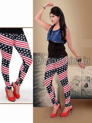 Ladies Printed Cotton Lycra Leggings 03