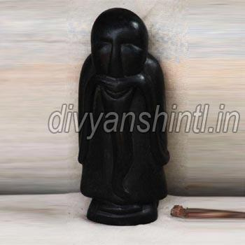 Black Stone Old Man Statue