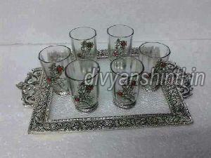 Silver Work Tray Glass Set