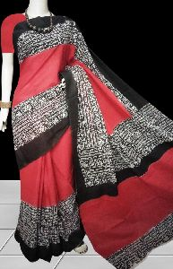 Red And Black Combinatio N Soft Cotton Saree