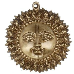 Brass Decorative Sun Face Hanging Statue