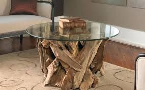 Round Wooden Glass Table