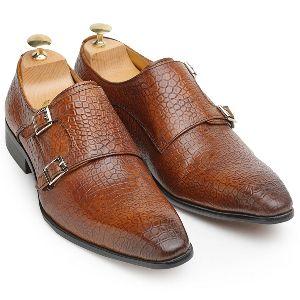 Faux Leather Dual Strap Monk Shoes
