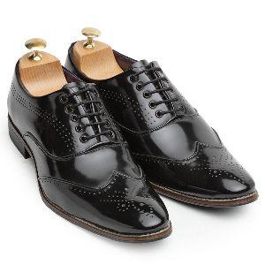 Faux Leather Black Brogue Shoes
