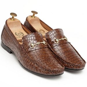 Croco Horsebit Brown Loafers