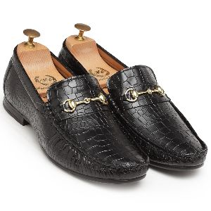 Croco Horsebit Black Loafers