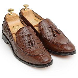 Pure Leather Croco Tassel Brown Slip Ons