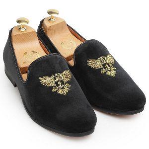 Handmade Zardozi Velvet Black Slip Ons