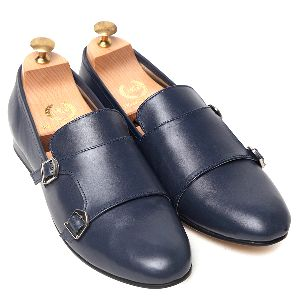 Faux Leather Gold Sole Monk Shoes