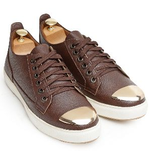 Faux Leather Gold Tip Brown Sneakers