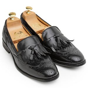 Pure Leather Brogued Frills Slip Ons
