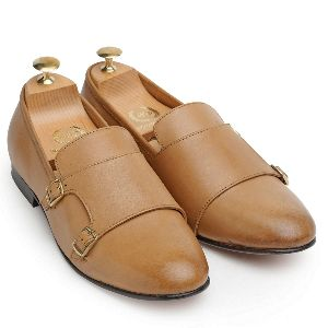 Genuine Leather Monk Beige Tan Shoes