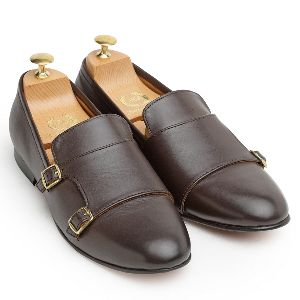 Genuine Leather Monk Brown Shoes