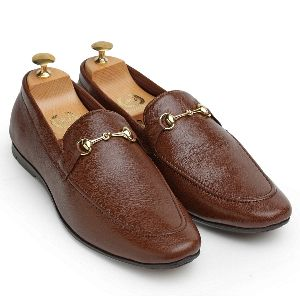 Pure Leather Horsebit Brown Slip Ons