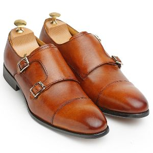 Genuine Leather Oxford Double Monk Shoes