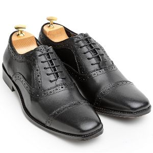 Pure Leather Oxford Black Shoes
