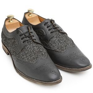 Faux Leather Oxford Mesh Brogue Shoes