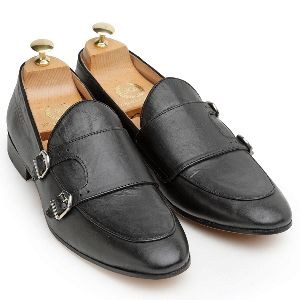 Genuine Leather Monk Black Shoes
