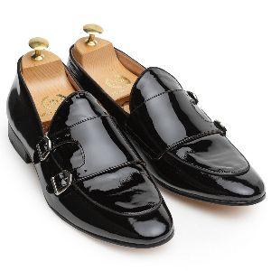 Leather Glamorous Monk Patent Black Shoes