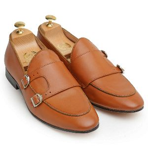 Genuine Leather Monk Tan Shoes