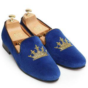 Handmade Zardozi Velvet Blue Slip Ons