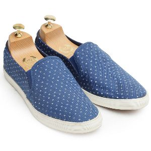 Faux Leather Self Print Canvas Blue Sneakers