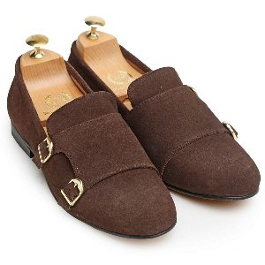 Faux Leather Monk Brown Shoes