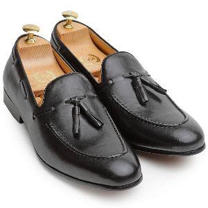 Pure Leather Tassel Black Slip Ons