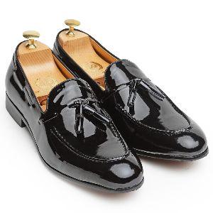 Pure Leather Tassel Patent Black Slip Ons