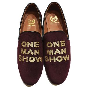 Faux Leather Golden Thread Wine Slip Ons