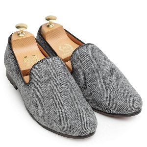 Faux Leather Light Grey Slip Ons