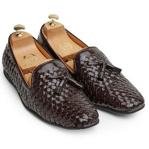 Tassel Patent Brown Woven Moccasins