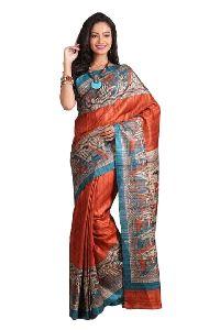 Pure Silk Madhubani Printed Saree