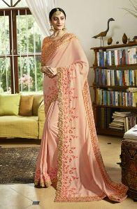 Designer Fancy Silk Sequins Work Saree